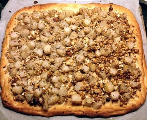 Zoete pizza met peer